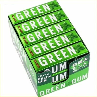 LOTTE chewing gum new GREEN GUM 9 sticks x Lots 15 packs fresh scent mint Japan