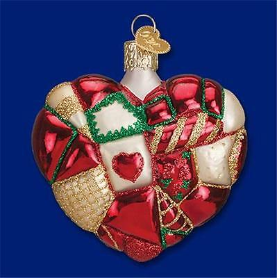 PATCHWORK HEART QUILTED OLD WORLD CHRISTMAS GLASS VALENTINE ORNAMENT NWT 30040