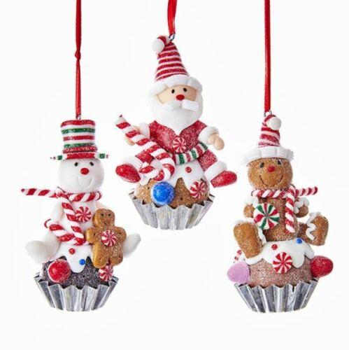 "Cupcake Ornament Gingerbread Snowmane Santa 3.5"" Set 3 Clay-dough Christmas"