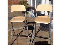IKEA breakfast bar chairs stool - fold away flat