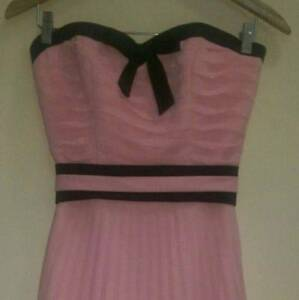 Pink strapless dress with lace-up back & boning - AU size 6. Surfers Paradise Gold Coast City Preview