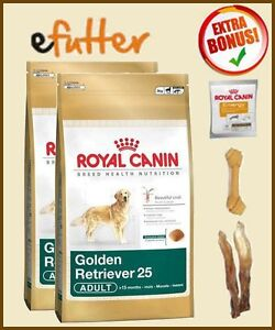 2x12kg Golden ADULT Retriever Royal Canin +RC Snacks +2x Ohren +Kauknoche