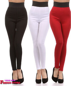 New-Banded-High-Waist-Ponte-Fashion-Leggings-Black-and-Red