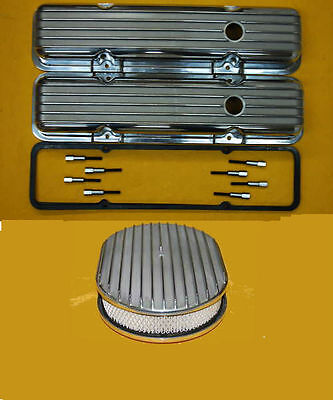 Sbc Polished Aluminum Valve Covers Tall Finned Gaskets Mini Studs Air Cleaner