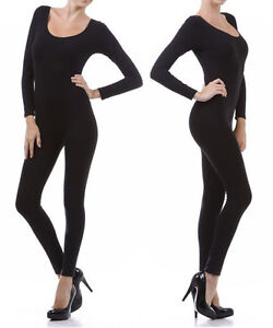 New-Solid-Fitted-Jumpsuit-BodySuit-Long-Sleeve-Cat-Suit-Black-Leggings-Pants