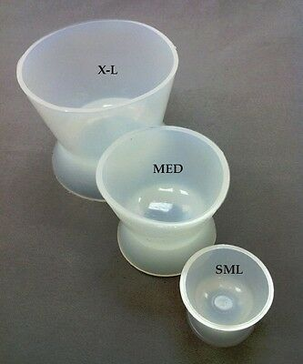 Dental Lab Silicon Acrylic Mixing Bowls Cups 3 Pieces Set S   M   Xl New