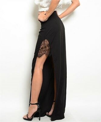 Misses Black Maxi Skirt with Side Slits and Lace Accents SZ Large NWT