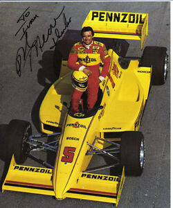 Rick Mears 3x Indy 500 Winner Autographs Colour Photo& H/W Note London Ontario image 1