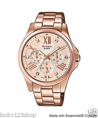 SHE-3806PG-9A Rose Gold Casio Sheen Lady Dress Watches Stain