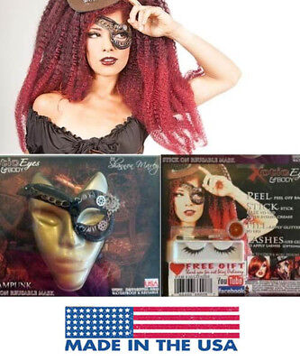 Steampunk Eye Patch Goggles Victorian Cogs Gears Easy Costume Makeup Face Mask