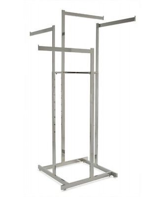 4 Way High Capacity Clothing Rack With 4 Straight 22l Arms Chrome