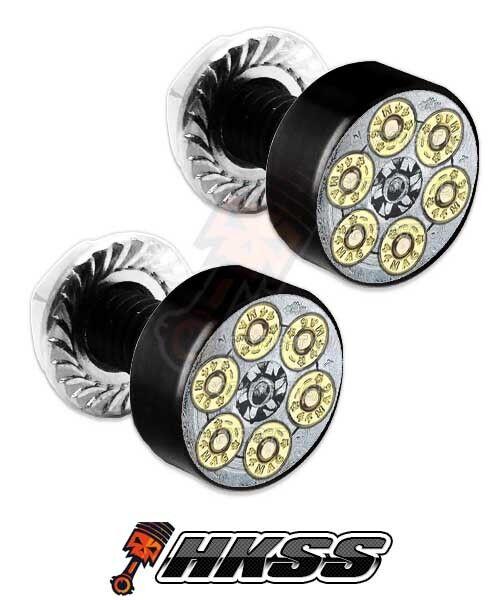 Revolver 2 Black Billet Aluminum License Plate Frame Lic Tag Fastener Bolts