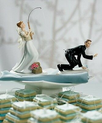 Gone Fishing Couple Bride & Groom Wedding Cake Topper CUSTOMIZATION Available