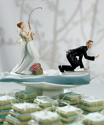 Gone Fishing Couple Bride & Groom Wedding Cake Topper CUSTOMIZATION Available (Fishing Cake Toppers)
