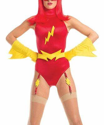 Be Wicked Costume Collection Womens Sexy 5 Piece Feisty Flash