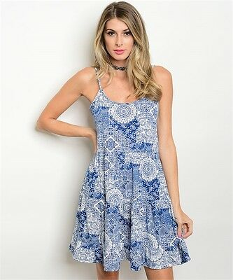 New Boho Cowgirl Paisley Western Tiered Spaghetti Strap Cotton Blend Dress S-M (Cowgirl Western Dresses)
