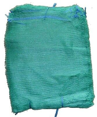 100 Green Net Sacks 35cm x 50cm Holds 5Kg Mesh Woven Bags Kindling Logs Onions