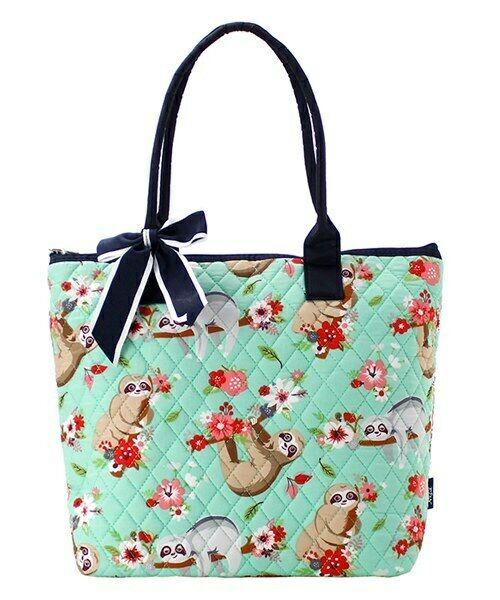 Sloth Floral Bow NGIL® Quilted Purse Tote Bag Free Shipping
