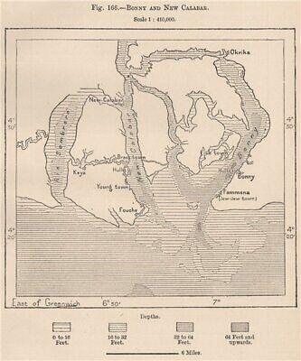 Bonny (Ibani) and New Calabar. Nigeria. Niger Basin. Okrika 1885 old map