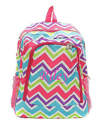 Personalized Chevron Large School Book Bag Backpack Monogram Embroidery PinkMuli - Personalized Bookbag