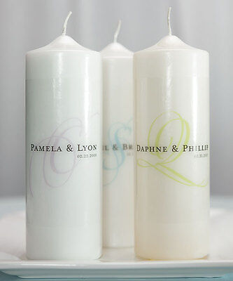 Weddingstar Modern Monogram Personalized Unity Candle Ceremony White Ivory Wedding Candles
