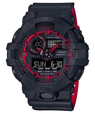 BRAND NEW CASIO G-SHOCK GA700SE-1A4 ILLUMINATOR BLACK-RED ANA/DIGI MEN WATCH!!