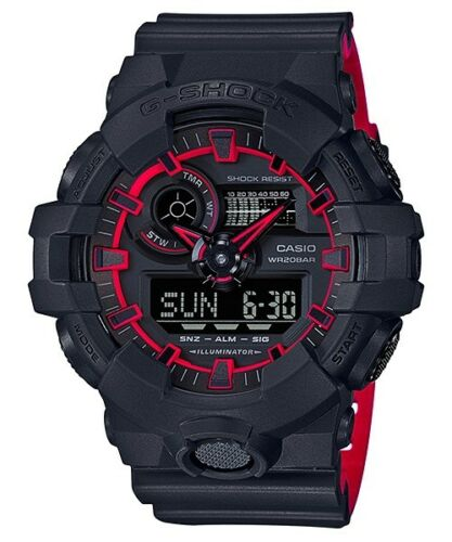Casio G-Shock Digital Analog Black and Red Watch GA700SE-1A4