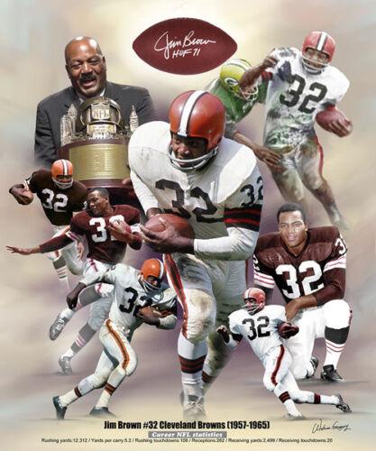 Jim Brown Nfl >> Details About Jim Brown Cleveland Browns Career Commemorative Nfl Action Art Poster Print