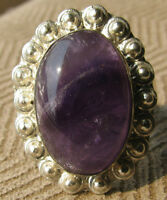 SIZE 7 1/2 STERLING SILVER RING NATURAL AMETHYST