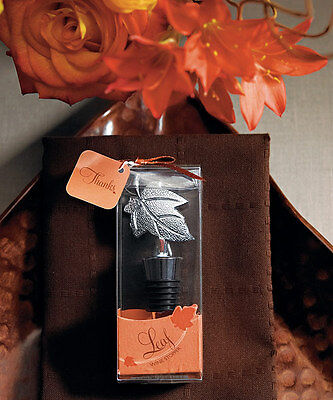 Autumn Fall Wine Bottle Stoppers - 24 Autumn Fall Leaf Wine Bottle Stoppers Bridal Shower Wedding Favors