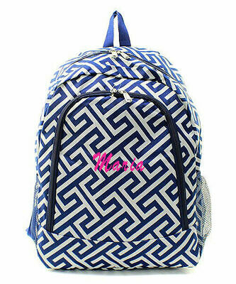 Personalized Greek Key Large School Book Bag Backpack Monogram Name Embroidery - Personalized Bookbag