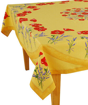 "60"" x 96"" Rectangular COATED Provence Tablecloth - Poppy & Lavender Yellow"