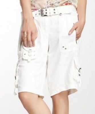 Used, NEW Da-Nang Cargo Bermuda Shorts with belt Bleached White Size X-SMALL NWT for sale  Pasadena