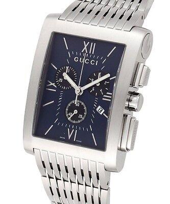 Gucci YA086318 Men's G Metro Blue Dial Chronograph Date Stainless Steel Bracelet