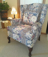 Beautiful Queen Anne's Maple Wingback Chair + Matching Pillow
