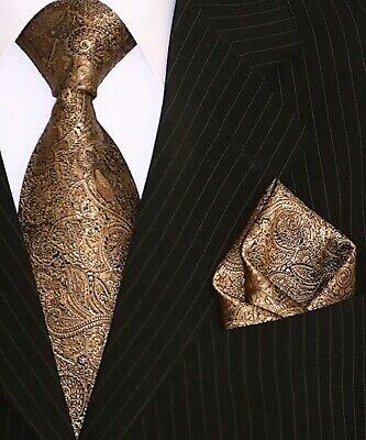 Binder de Luxe Designer Krawatte Einstecktuch Krawatten Set Tie 428 braun Tlg