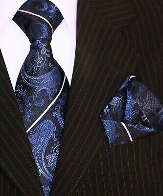 Binder de Luxe Krawatte Einstecktuch Krawatten Set dunkel blau Paisley 135
