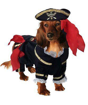 Buccaneer Deluxe Pirate Costume For Dogs Black velveteen Outfit Skull Crossbone