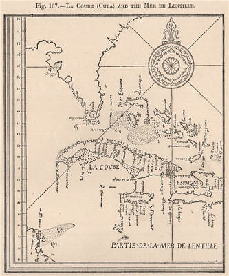 La Coube (Cuba) and the Mer de Lentille. Caribbean Bahamas Florida 1885 map