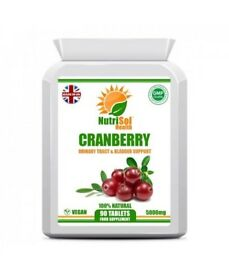 NutriSol Health High Strength Cranberry Tablets for healthy Kidneys, Bladder, Skin, Heart Free P&P