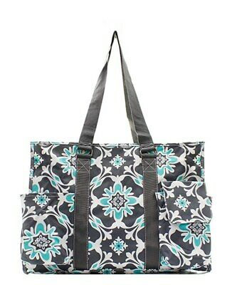 Zip Top Utility Tote Organizer w/pockets purse bag craft NWT FREE SHIP Mint Vine (Craft Totes)