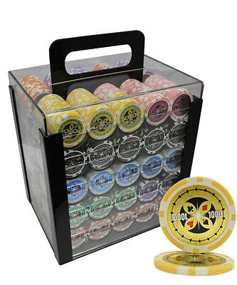 1000ct Ultimate Casino Poker Chips Set Acrylic Case