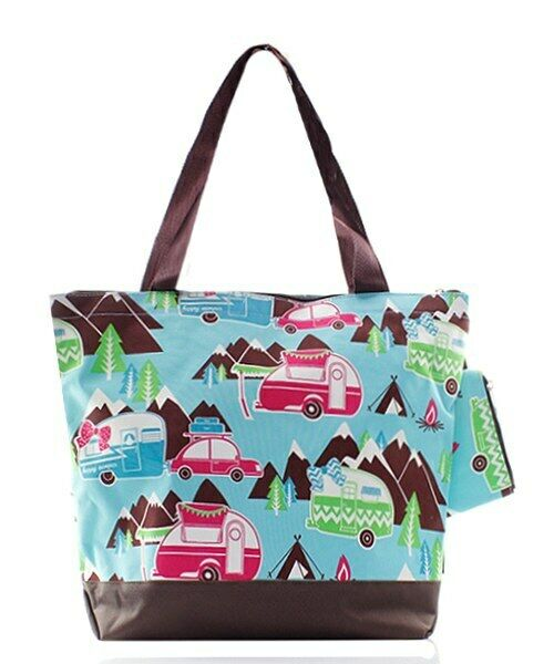 Happy Camper Canvas Purse Totebag w/attached coin bag NGIL N