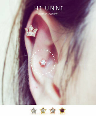 Star Cartilage Earring Stud - 16g Tiny Star cartilage earring, helix tragus earrings, Labret stud optional 1pc