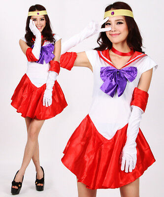 Sailor Moon Costume Cosplay Dress Anime Uniform Fancy Gloves Kostüm Kleidung (Fancy Sailor Kostüm)