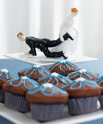 Bride Dragging Groom - Bride Dragging Groom Funny Couple Wedding Cake Topper
