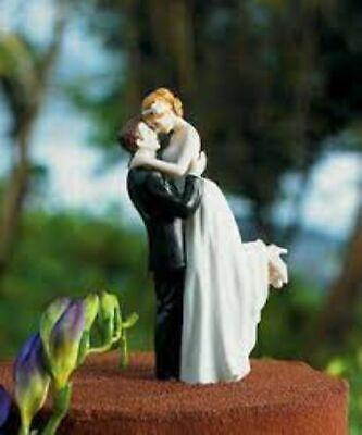 True Romance Groom Lifting Bride Porcelain Couple Wedding Cake Top Topper