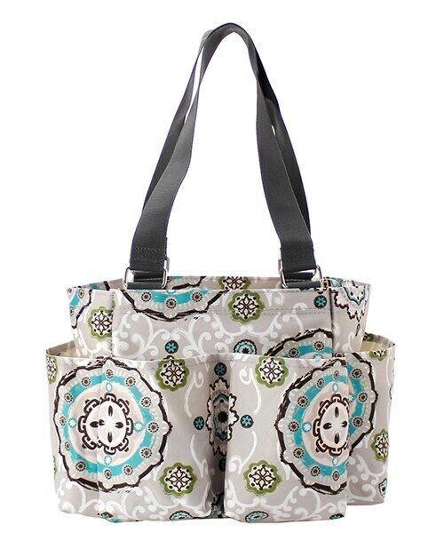 Garden View Floral NGIL Small Zippered canvas purse Caddy Or