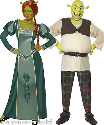 Couples Disney Fancy Dress Mens AND Shrek Ladies Fiona Book Day Costumes Outfits - Shrek And Fiona Costume