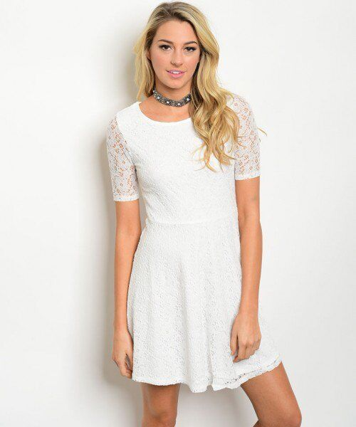 Details About Women Casual Party Off White Short Sleeve All Over Lace Skater Summer Dresses S